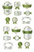 Blank Premium label and budges luxury soft green and silver Stock Illustration