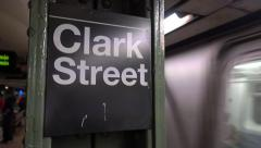 Subway Approaches Clark Street Platform Stock Footage