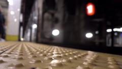 Subway Train Approaches Platform Stock Footage