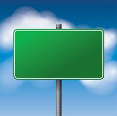 Blank Green Road Sign Illustration Stock Illustration