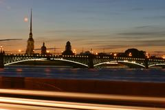 Peter and Paul Fortress at sunset, St. Petersburg, Russia. Stock Photos