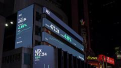 AEX index on stock ticker in downtown Times Square NYC 4k Stock Footage