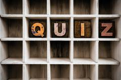 Quiz Concept Wooden Letterpress Type in Drawer - stock photo