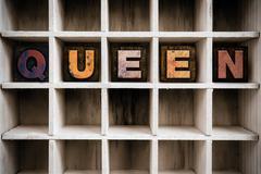 Queen Concept Wooden Letterpress Type in Drawer - stock photo