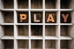 Play Concept Wooden Letterpress Type in Drawer Stock Photos