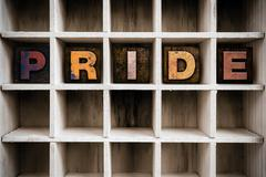 Stock Photo of Pride Concept Wooden Letterpress Type in Drawer