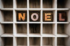 Noel Concept Wooden Letterpress Type in Drawer - stock photo