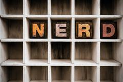 Nerd Concept Wooden Letterpress Type in Drawer - stock photo