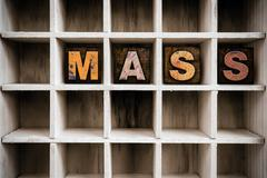 Mass Concept Wooden Letterpress Type in Drawer - stock photo