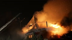 Stock Video Footage of House on fire. Inferno conflagration.