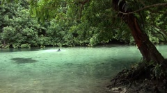 man swimming in south pacific river - stock footage