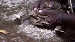 South Pacific Tribesman making fire with a stick Stock Footage