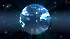 Stock Video Footage of Glittering Disco Dance Mirror Ball Blue Background