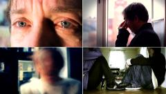 Various stages of depression, a problem in the family, alcohol multi screen 4K - stock footage