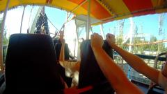 Roller Coaster starting ride. First person video shoot from amusement park. Stock Footage