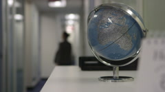 World globe in the office Stock Footage