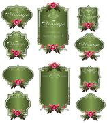 Stock Illustration of green luxury invitation flower labels and blank labels