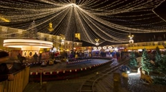 Christmas mood in Sibiu Christmas Market, Romania - Time lapse video - stock footage