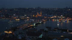 Istanbul panorama at night Stock Footage