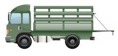 Dark green truck farm open black door - stock illustration
