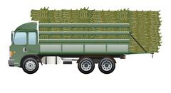 Sugarcane truck Dark green truck farm working - stock illustration