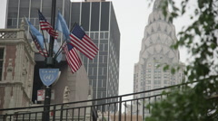 UN Way with flags and Chrysler buliding Stock Footage