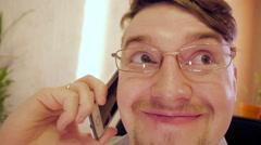 HappyCrazy eye businessman in glasses Stock Footage