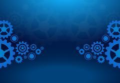 Cogs wheels blue dark background - stock illustration
