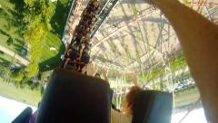 Roller Coaster ride. First person video shoot from amusement park. Adrenaline an Stock Footage