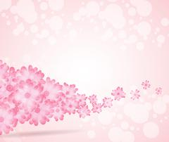 Soft pink flower bright wave from left side background - stock illustration