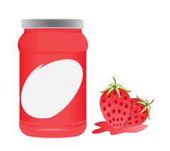 strawberry and bottle packaging vector design - stock illustration