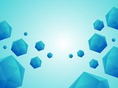 Low polygon balls on blue sky background - stock illustration