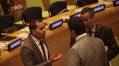 NEW YORK, MayUnited Nations delegates discuss Stock Footage