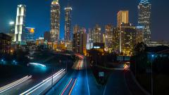 Atlanta City Skyline At Night Time Lapse 4k - stock footage