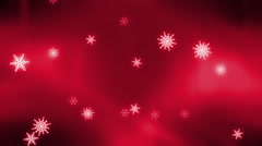 Snow flake on red background Stock Footage