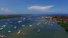 Aerial view of yahts in bay. Summer time Stock Footage