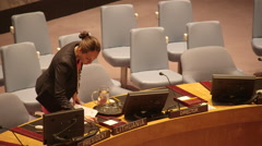 NEW YORK, May Staff prepares tables for UN meeting Stock Footage