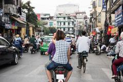Busy Hanoi City Street - stock photo