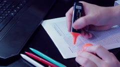 Businessman Male hands writing graphics on paper Stock Footage