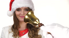 Woman in christmas hat receiving letter from santa claus 4K Stock Footage
