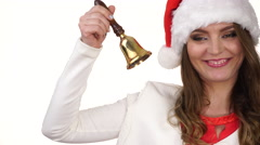 Woman in santa claus hat ringing a bell 4K Stock Footage