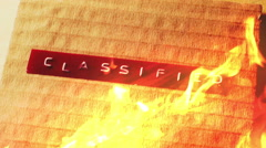 Destroying burning classified information Stock Footage