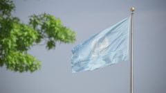 Waving United Nations flag Stock Footage