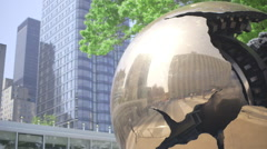 Globe monument at United Nations headquarters in New York Stock Footage