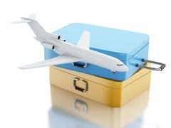 3d Travel suitcase and airplane - stock illustration