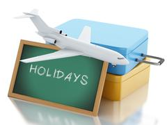 3d Travel suitcase, airplane and blackboard. - stock illustration