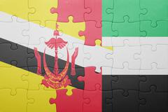Puzzle with the national flag of united arab emirates and brunei Stock Photos