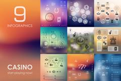 Casino infographic with unfocused background Piirros