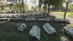 Ancient city of Troy - marble pillars from Roman period - stock footage