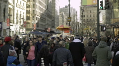 Crowd of people on busy Manhattan street with hot dog vendors and tourists NYC Stock Footage